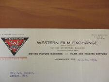 Movie letterhead Western Film Exchange list of films Rhinelander 6/23/1910
