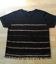 Ladies Black Lightweight Knit top with Beaded Detail - Berketex - Size 14.