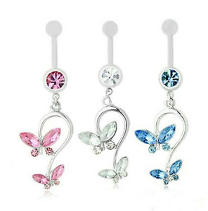 Pendant Belly Bars. 10mm Sparkly Colour Butterfly Gems. Really Pretty. 316L