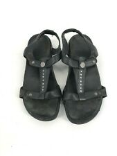 Aetrex T Strap Stud Sandals Size US 6 Stud Gladiator Black Leather Shoes (L1).