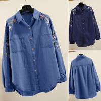 UK Women Vintage Long Sleeve Floral Embroidery Denim Shirt Tops Blouse Plus Size