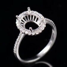 Natural Diamond Semi Mount Halo Ring Settings Oval 8×10mm Solid 18K White Gold