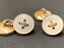 solid 9ct gold Cufflinks French Vintag IN Gold Solid 9ct Type Button