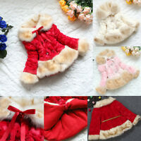 Baby Kid Girl Winter Warm Fur Thick Princess Coat Jacket Outerwear Parka Clothes