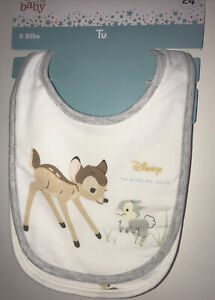 Disney Baby Bambi 2 Cotton Popper Fastening Bibs