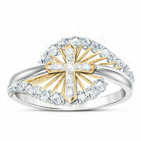 Two Tone 925 Silver White Topaz Cross Ring Women Wedding Party Jewelry Size 6-10
