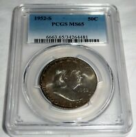 1952-S 50C PCGS MS65 Franklin Half Dollar 50 Cent Coin  American Currency💎