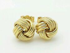 14k Italian Yellow Gold Love Knot Stud Earrings Italy 9mm