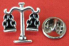 Scales of Justice Lapel Hat Cap Tie Pin Badge Balance Libra Scale Brooch JP Gift