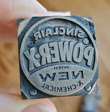 Vintage Copper On Wood Letterpress Print Block Sinclair Stamp Gas Oil Pb35