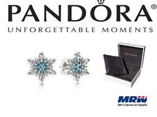 Pandora Pendientes Plata S-925 CZ Azul Nieve Estrella