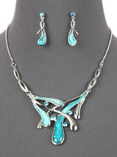 Aqua Blue Silver Tone Statement Necklace Earrings Fashion Jewelry Set