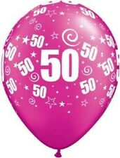 """10 Qualatex 11"""" Helium Quality 50th Birthday Party Balloons Age 50 Many Colours Wild Berry (hot Pink)"""