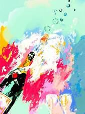 CHAMPAGNE BOTTLE PLUME FIZZ CORK POP FIZZY BUBBLES ART PRINT POSTER BB8527