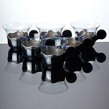 6 Teegläser hellblau Halterung Metall Griff schwarz Art Deco Glas blau Gläser