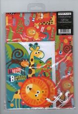 Birthday, Child Animals Wrapping Paper