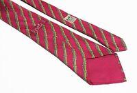 vintage HERMES men's red 100% silk Tie made in France necktie 7041 TA