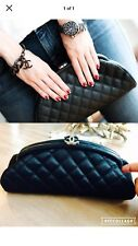 Chanel Classic Clutch Bag Purse Quilted Black Half Moon Cc Logo Timeless
