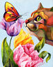 Getting to Know You 8X10 Framed Original CAT Art on canvas Sherry Shipley