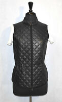 B4 NEW LAFAYETTE 148 Black Quilted Leather Drawstring Waist Jacket Vest Size 8
