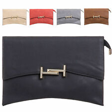 Ladies Faux Leather Envelope Style Clutch Bag Evening Bag Handbag Purse KZ949