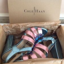 Señoras Cole Haan Azul Rosa Correa de piel Sandalias De Plataforma Chelsea £ 285 US9.5 UK7