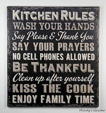 PRIMITIVE COUNTRY BLACK WOOD KITCHEN RULES SIGN HANDMADE HOME WALL DECOR 1422