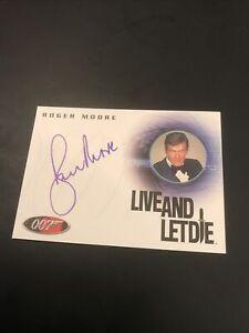 James Bond Autograph Card - Roger Moore Live And Let Die