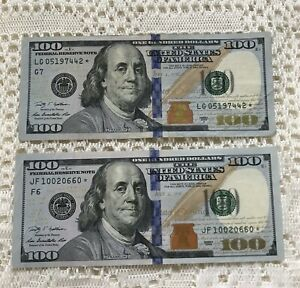 Two Crisp $100 Federal Reserve Star Notes.  AU.  Low Serial Numbers 2009 -2009A