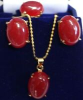 Set 3 PCS Women Jewelry Red Jade Pendant Necklace & Earrings & Ring Gift