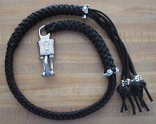 "36"" Get Back Biker Whip USA Handmade Panic Snap Solid Black 16 Metal Skulls 1%"