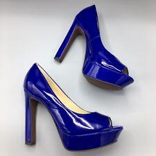 NIB LUXURY REBEL 8.5 'Carlita' Electric Blue Patent Leather Platform Open Toe