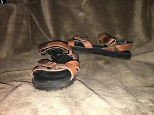 Women's Maine Woods with Straps Brown Leather Sandals Size 8.5 M