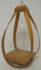 VINTAGE MID CENTURY MODERN TEARDROP HANGING WOOD CRADLE PLANT HOLDER EUC