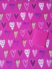 2 SHEETS OF THICK GLOSSY VALENTINES DAY HEARTS WRAPPING PAPER WITH PINK GIFT TAG