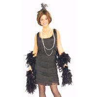 1920's Gatsby Black Flapper Dress + Headpiece Womens fancy dress costume