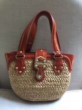 MICHAEL Kors Satchel Santorini Woven Straw Orange Patent Leather Tote Beach, EUC