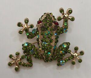Vintage Frog Pin Brooch Cara NY Green Gold Rhinestone