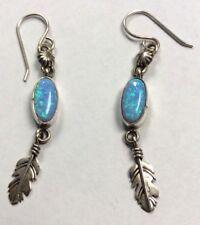 Sterling Silver Southwestern Opal Feather Drop Fish Hook Earrings