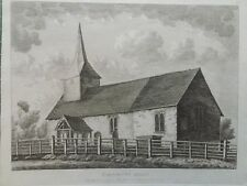 1809 Antique Print; Old St Andrew's Church, Kingsbury, London