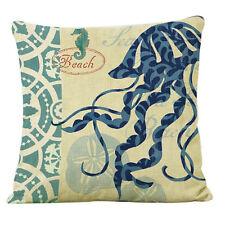 Aquatic Ocean Marine Natural Linen Cushion Cover Home Decor Throw Pilloe Case AU Conch