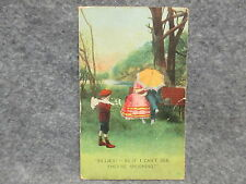 Vintage Bamforth & Co. Postcard Spooning Lovers Scenic Nature Print Posted 1912
