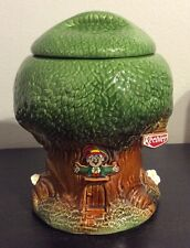 "Vintage 1981 Keebler Elf Treehouse Cookie Jar McCoy 350 With Lid 9""H x 7""Dia EUC"