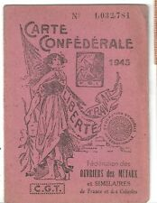Carte syndicaliste Syndicat CGT 1945 métallurgie France Colonies 12 timbres