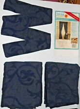 Vintage Spring Maid Newberry Chenille Scroll Rod Pocket Drapes Tiebacks Navy
