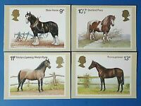 Set of 4 PHQ Stamp Postcards Set No.30 Horses 1978 CF3