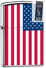 Zippo 7959 american flag high polish chrome united states Lighter + FLINT PACK