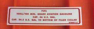 🇺🇸 Cessna Aircraft Fuel  Placard, P/N 0705071-5
