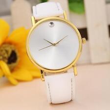 Fashion Women Bracelet Bangle Leather Rhinestone Dial Quartz Analog Wrist Watch