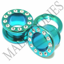 "0960 Green Steel Screw-on/fit CZ Flesh Tunnels 7/16"" Inch Ear Plugs 11mm"